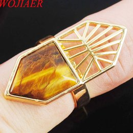 $enCountryForm.capitalKeyWord Australia - WOJIAER Single Natural Tiger s Eye Gemstone Finger Ring Jewelry Women Geometric Nature Stones Party Rings Birthday Gift for Girls DX3007