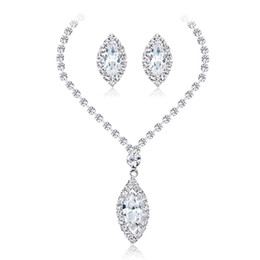 costume jewelry sets NZ - 1PC Wedding Jewelry Sets for Women White Color Necklace Earrings Sets Silver Crystal Dress Costume Accessories