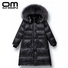 down jacket raccoon fur black NZ - OMCHION 2019 Raccoon Fur Collar Hooded Autumn Winter Jacket Women Parka 90% Duck Long Down Coat Thick Warm Black Outwear LRM05 SH190930