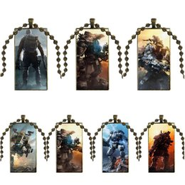 video game glasses 2020 - EJ Glaze For Women Men Bronze Color Glass Cabochon With Rectangle Shaped Pendant Choker Necklace Titanfall Video Games c