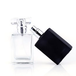 Empty watEr bottlEs online shopping - Clear Black Portable Perfume Spray Bottles ml Empty Glass Cosmetic Containers With Atomizer For Skin Care Water E juice Eliquid Perfuma