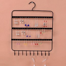 hanging display hooks NZ - 66 Holes and 10 Hooks Wall Earring Jewelry Hanging Holder Necklace Display Stand Rack Holder watch