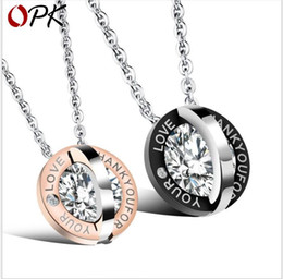 Necklaces Pendants Australia - Couple Accessories Round Inlay Zircon Love Titanium Steel Couple Necklace Beautiful Pendant