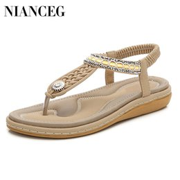 2723223a Flat Boho Shoes UK - Free Shipping 2019 summer new fashion boho woven  female sandals large