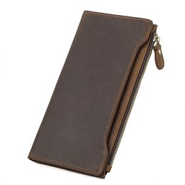 Rfid Print Australia - New Crazy Horse Genuine Leather Wallet Men's Multi-functions RFID Credit Card Holder Pures Special Boarding Pass Wallets #160092