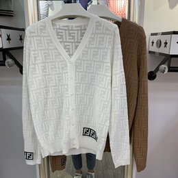 $enCountryForm.capitalKeyWord Australia - Spring summer new fashion women''s long sleeve v-neck perspective thin knitted letter jacquard weave loose palazzo sweater cardigan knitwear