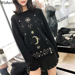 Discount black sweater white stars Woherb Harajuku Autumn Winter Fashion Pullover Moon Star Embroidery Knitting Sweater Female Gothic Sueter Mujer Invierno