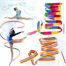 Dance gymnastic ribbon online shopping - Rhythmic Gymnastics Gimnasia Ritmica RG Ribbon Meters Child adult Props Dance Stick cm Width sports equipmemnt colors dance twirl ribbons