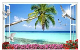 $enCountryForm.capitalKeyWord Canada - Papel de parede Custom 3d photo mural wallpaper home decor Window scenery beach coconut tree 3D living room TV sofa background wall sticker