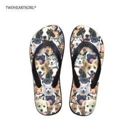 pandas slippers Australia - Twoheartsgirl Cute Printed Animal Dog Panda Flip Flip for Women Girls Soft Rubber Summer Beach Flipflop Flats Home Slippers