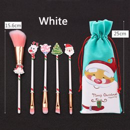 christmas makeup brush gift set UK - 5Pcs Christmas Makeup Brushes Set Kit Beautiful Professional Make Up Brush Tools With Drawstring Santa Claus Print Bag Xmas Gift DBC VT1218