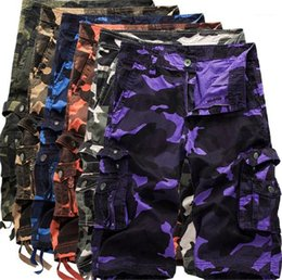 mens knee length cargo shorts Australia - Man Summer Knee Length Loose Multi Pockets Shorts Casual Mens Beach Shorts Plus Size Camouflage Cargo Shorts for