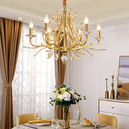large pendant lamps Australia - Large Gold Imperial K9 Crystal Chandelier for Hotel Hall Living Room Staircase Hanging Pendant Lamp European Big Lighting