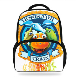 Dinosaur Cartoon Movie Australia - 14Inch Popluar Dinosaur Train School Backpack For Children Cartoon Movie Printed Bag For Kids Boys Girls