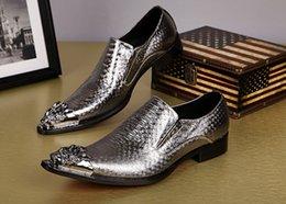 Men Slips Hot NZ - Hot Fashion Gold Dress Shoes Men Metal Oxford Shoes For Men Slip On Flats Office Formal Wedding Male italian Lasts