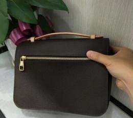 De calidad superior de cuero genuino de las mujeres mensaje marrón Pochette Metis bolso pochette Metis bolsas de hombro crossbody Retro bolsas en venta