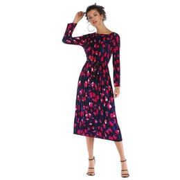 $enCountryForm.capitalKeyWord UK - Womens Dresses Diamond Print Long-sleeved Dress Autumn And Winter Slim Chiffon Pleated Long Skirt Eur Size M-xl