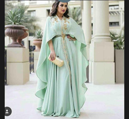 white embroidery kaftan abaya NZ - 2019 Mint Green Caftan Evening Dresses Long Sleeve Gold Appliques Embroidery Zipper Kaftan Prom Gowns Arabic Abaya Plus Size Formal Dress