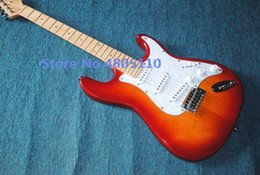 ClassiC guitar strings online shopping - Factory custom classic cherry red electric guitar with SSS pickup white pickup can be customized chrome plated hardware