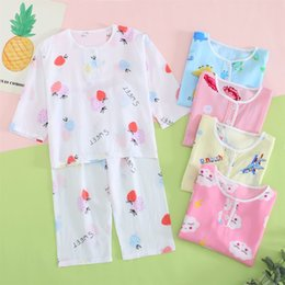 $enCountryForm.capitalKeyWord Australia - Summer day children's pajamas cotton seven-point long-sleeved boys and girls baby cotton silk air conditioning home service thin suit