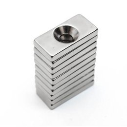 Hole Block Magnets Australia - U-JOVAN 10pcs lot 20 x 10 x 3mm 4mm Hole N35 Super Strong Rare Earth Ring Block Neodymium Magnet