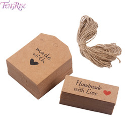 kraft gift tags UK - FENGRISE 50 100pcs Kraft Paper Tags Made with Love Wedding Party Decoration Handmade With Love Kraft Gift Hang Tag Head Label