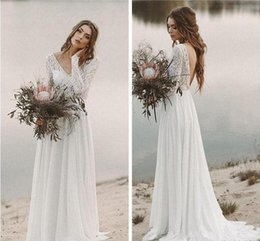 $enCountryForm.capitalKeyWord Australia - Beach Country Wedding Dresses 2019 A-line Chiffon Lace Top V Neck With Long Sleeves Draped Backless Bridal Gown Illusion Sweep Train