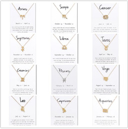Discount gemini chain - Birthday Gifts 12 Constellation Zodiac Pendant Necklace With White Card Taurus Gemini Cancer Leo Virgo Libra Scorpio Sag