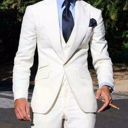 $enCountryForm.capitalKeyWord NZ - Summer Beach Ivory Men Suits for Wedding Slim Fit Groom Wedding Tuxedo 3Pieces Coat Pants Vest Costume Homme Casual Men Blazer Jacket