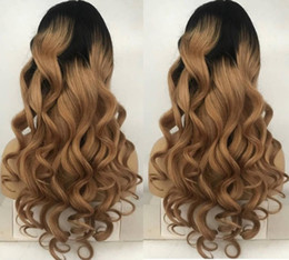 Human Hair Lace Wigs Free Shipping Australia - Celebrity Wigs Full Lace Wig High Quality Loose Wave Ombre Color 1bT4 Brazilian Virgin Human Hair Two Tone Lace Front Wig Free Shipping