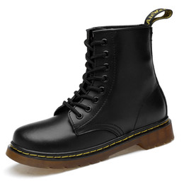Black Ladies Shoe UK - plus Size Chunky Motorcycle Boots For Women Autumn Fashion Round Toe Lace-up Combat Boots Ladies Shoes