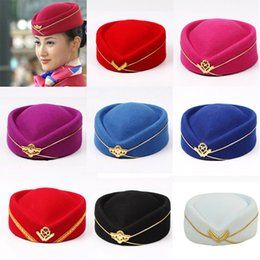 9bbdaaf3459 Women Imitation Wool Felt Cap Ladies Pillbox Hats with Gold insignia Solid Beret  Stewardess Air Hostesses Hat Base Sweet Fedoras