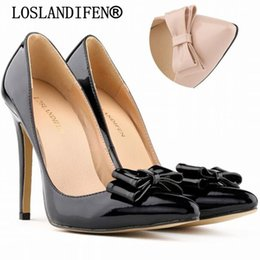 Valentines Sweets NZ - 2018 fashion delicate sweet bowknot high heel shoes Patent leather pointed women pumps valentine Wedding Dress Shoes