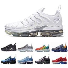 more photos 0f71c 8e096 Newest Fades Work Blue TN Plus Men women Running Shoes Pure Platinum Bright  Crimson Hyper Rainbow Mens Volt Wolf Grey sports sneakers 36-45