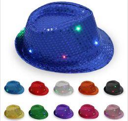 flashing fedora 2019 - 30pcs Led Jazz Hats Flashing Light Up Led Fedora Trilby Sequins Caps Fancy Dress Dance Party Hats Hip Hop Lamp Luminous