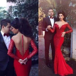 Sheer Red Evening Dress Australia - Arabic Red Mermaid Formal Dress Evening Wear Sheer Jewel Lace Applique Trumpet Long Prom Party Dress Pageant Gowns Cheap Custom