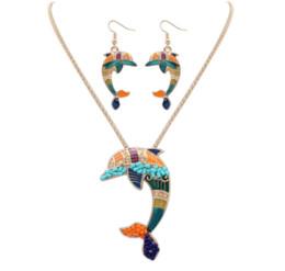 $enCountryForm.capitalKeyWord UK - ZHENXIN Geometric Classic Animal Indian jewelry Necklace earrings set Hand carved Women Hippie style Dolphin Hiphop Rock Tibetan