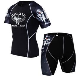 mma compression shorts 2019 - Mens Israel Krav maga Set Compression Shirts 3D Teen Wolf Short Sleeve T Shirt Fitness Men MMA T-shirt + trousers cheap