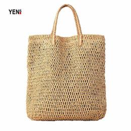 $enCountryForm.capitalKeyWord Australia - Brand New Women Big Tote Natural Woven Beach Handbag Retro Hollow Out Straw Bag Women Messenger Bag Summer Knitting Shoulder