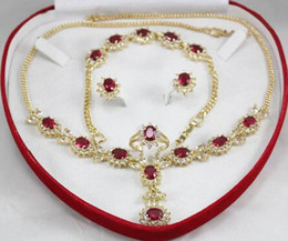 $enCountryForm.capitalKeyWord Australia - Lovely Women's Wedding Jewelry New Design Charming Red Zircon Necklace Earing Bracelet Set> Bridal wide