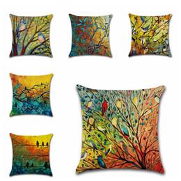 $enCountryForm.capitalKeyWord Australia - 45*45cm New Hundred Birds Forest Series Pillow Case Home Throw pillowcase Offic Waist Pillow cover Sofa Oil painting Cushion Cover