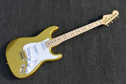 $enCountryForm.capitalKeyWord Australia - Factory Custom Gold Electric Guitar with Reverse Headstock,Gold Hardware,White Pickguard,High Quality,Can be Customized