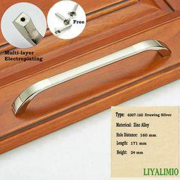 Discount silver kitchen door handles - 6007-160 Drawing Silver Simple Pastoralism Modern Door Handles Kitchen Knobs Furniture Hardware Wardrobe Cupboard Handle