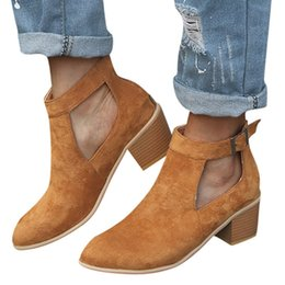$enCountryForm.capitalKeyWord Australia - Fashion Solid Womens Square Cover Heel Ankle Boots Buckle Casual Retro Style Med Heel Boots Buckle Single Shoes May 8