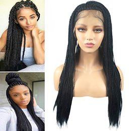 lace front micro braid wigs 2020 - Black Color Micro Braided Lace Front Wig Synthethic Hair Braided Heat Resistant Hairs Wigs Free Part with Baby Hair for