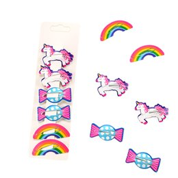 hair clip animals Australia - New Arrivals 2-6Pcs Set Children Cartoon Headwear Set Animals Horse Rainbow Candy Hairpins Set Printing Hair Clip for