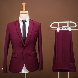 $enCountryForm.capitalKeyWord Australia - Brand New Real Picture Groom Tuxedos Burgundy Groomsmen Slim Fit Best Man Suit Bridegroom Wedding Prom Dinner Suits (Jacket+Pants) K521