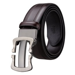 Best Leather Belts For Men NZ - Hi-Tie Best Quality Designer Fashion Men's Business Waist Belts Designer Buckle Genuine Leather Belts For Men BK-0016