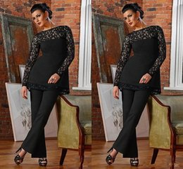 formal mother bride dresses black Australia - Elegant Lace Long Sleeve Black Mother of the Bride Suits Jewel Neck Plus Size Mother Pant Suit Casual Formal Occasion Dresses BC0686