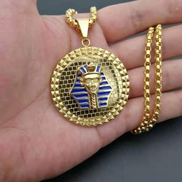 Discount pharaoh pendants - Gold Color Stainless steel Egyptian Pharaoh Head Face Pendant Necklace Men Women Design HipHop Style Long Chain Necklace